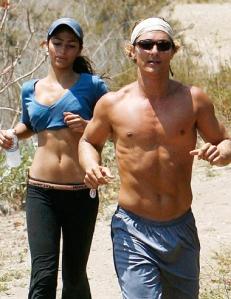 Matthew McConaughey running at Runyon